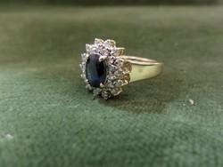 Zafíros - brilles modern fehér arany gyűrű