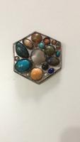 Ezüst kitűző / Medál a 20-as évekből, féldrága kövekkel