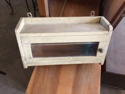 Vintage régi fenyő vitrines faliszekrény kis szekrény