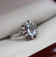 Gyémánt Akvamarinnal fehér arany 585/14kr.