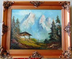 Csodaszép, antik alpesi tájkép Olaj/vászon festmény szignózva