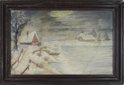 0T590 Ismeretlen festő : Téli táj