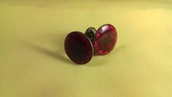 Elegáns régi piros színű réz mandzsettagomb 012