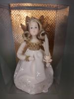Antik angyal angyalka viasz dobozában gyertyával apáca munka karácsonyfa dísz