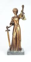 0T543 Jusztícia bronzírozott szobor 25.5 cm