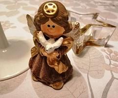 Bájos kerámia karácsonyi angyalka dekoráció, asztaldísz