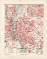 Budapest térkép 1902, eredeti, német és magyar nyelvű, főváros, Buda, Pest, lexikon melléklet, régi