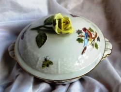 Herendi bonbonier/ékszertartó/rózsafogóval.10 cm magas, átmérő 11 cm, jelzett.