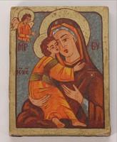 Ikon fára festve Mária a kis Jézussal