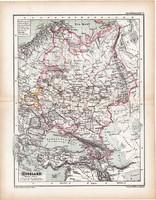 Oroszország térkép 1870, eredeti, német nyelvű, atlas, Kozenn, régi, antik, XIX. század