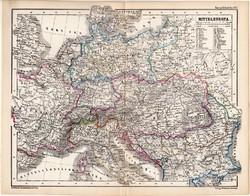 Közép - Európa politikai térkép 1870, eredeti, német nyelvű, atlas, Kozenn, monarchia, régi, antik