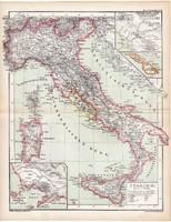 Itália (Olaszország) térkép 1870, eredeti, német nyelvű, atlas, Kozenn, régi, antik, Róma, Nápoly