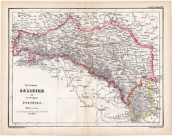 Galícia, Bukovina térkép 1870, eredeti, német nyelvű, atlas, Kozenn, Lwow, XIX. század, régi, antik
