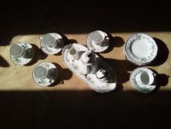 Hollóházi porcelán kávés készlet 19 darabos
