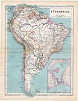 Dél - Amerika térkép 1870, eredeti, német nyelvű, atlas, Kozenn, régi, Rio de Janeiro, antik