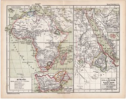 Afrika és a Nílus vidéke térkép 1870, eredeti, német nyelvű, atlas, Kozenn, régi, Vörös - tenger
