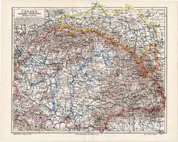 Magyarország térkép 1908, eredeti, Galícia, Bukovina, Nagy - Magyarország, német, régi