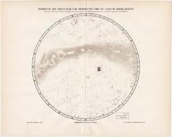 Ködök és csillagcsomók eloszlása a déli égbolton, térkép 1896, eredeti, német, csillagászat, csillag