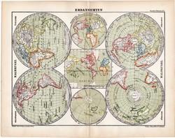 Világtérkép 1870, térkép, eredeti, német nyelvű, atlas, Kozenn, félteke, Északi - sark, Délis - sark