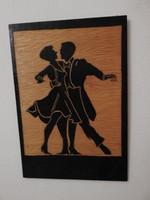 Különleges kézi véséssel készült fa metszet : árnykép - táncosok