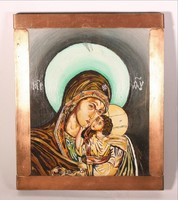 Ikon Mária a kis Jézussal, fém szegéllyel