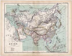 Ázsia politikai térkép 1870, eredeti, német nyelvű, atlas, Kozenn, XIX. század, régi, politika