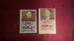 BESZKÁRT TANUKÓBÉRLET TOP ÁLLAPOTBAN GYÖNYÖRŰ SZÁRAZ BÉLYEGZŐVEL 1941-42 ÉS 42-43 TANÉVRE