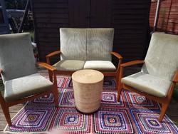 Minőségi Retro, Mid Century kis kanapé és 2 fotel, Teak fából