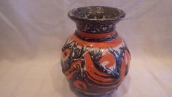 Zsűrizett retro iparművész kerámia váza 16,5 cm