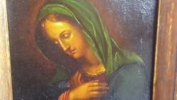 """Antik """"Madonna"""" fém lemezre festett ( XVIII-XIX.sz.eleje)"""