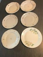 Zsolnay kis tányér 6 db virág mintával, barokk és egyéb kistányér