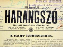 1939 december 31  /  HARANGSZÓ  /  RÉGI EREDETI ÚJSÁG Szs.:  4606