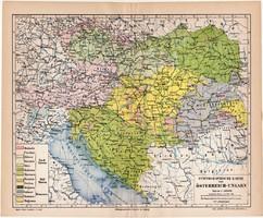 Osztrák - Magyar Monarchia etnográfiai térkép 1888, német nyelvű, eredeti, etnográfia, néprajz, régi