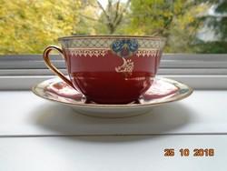 Altwien és Karlsbad Stilmalerei K.M.K.vár jel,szecessziós teás csésze alátéttel,  zsánerjelenettel