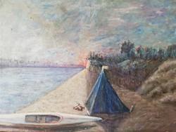 Pajor Ferenc vadkemping tájkép keret nélkül 1960 körül. Napfelkelte, kajakkal és sátorral.