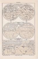 Mars térkép 1896, német nyelvű, litográfia, eredeti, csillagászat, bolygó, felszín, Naprendszer