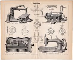 Varrógépek, egyszínű nyomat 1888, német nyelvű, eredeti, varrás, varrógép, gép, tű, régi
