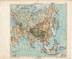 Ázsia hegy- és vízrajzi térkép 1913, teljes atlasz, Kogutowicz Manó, Tibeti felföld, Gobi - sivatag