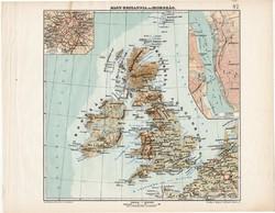 Nagy - Britannia és Írország térkép 1913, teljes atlasz, Kogutowicz Manó, London, Skótország, Anglia