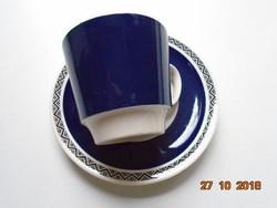 Jugendstil Villeroy&Boch Mettlach Saar SAPHIR mintás kobaltkék kávés/teás csésze alátéttel