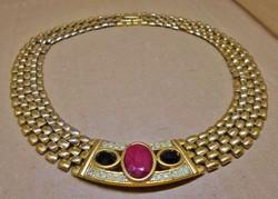 Mesés  antik vastag aranyozott valódi rubin onix  nyakék