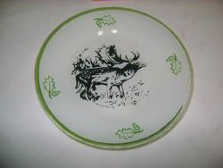 Retro, szarvasos festett üveg tányér