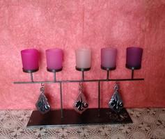 5 ágú gyertyatartó mécsestartó kovácsoltvas, üveg függőkkel