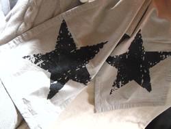 Szürke pamut futó terítő csillagokkal