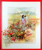 Gyönyörű Haenraets, Summer of Love kép, keretezve, 53x63 cm