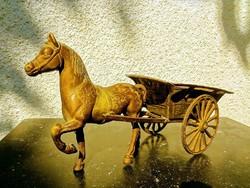 Szekér Lóval - Antik Bronz Szobor