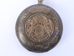 Rikaság! régi Magyar címeres niellós antik zsebóra ... 268c70a2ee