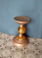 gyertyatartó bronz színű fém és üveg, nehéz darab