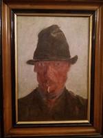Cigarettázó férfi portré