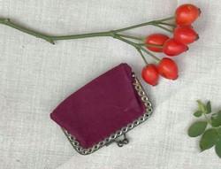 Antik, réz keretes, bordó fordított bőr kisméretű tárca